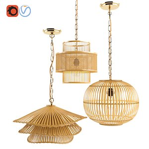 3D Bamboo rattan lantern set 2 model