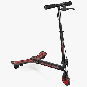 3D PowerWing Scooter Black Red model