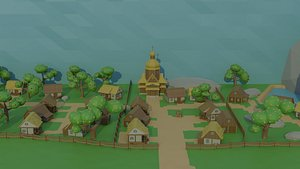 cartoon medieval village asset 3D model