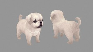 Cartoon pet puppy - White Paco - baby dog model