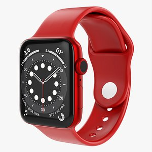 Apple Watch Series 6 silicone loop red 3D model