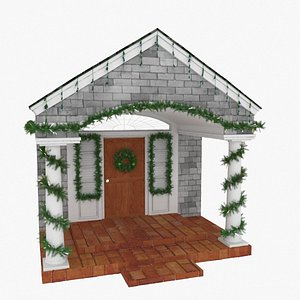 3D model porch tinsel scene christmas