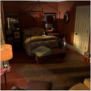 bedroom scene 3d fbx