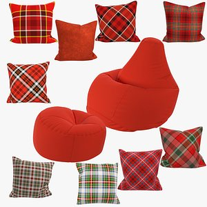 3D Bean Bag Chairs and Pillows Collection V9 model