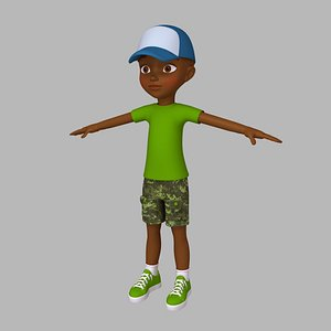 3D boy cartoon black