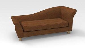 Lounge Sofa-Brown fabric 3D model