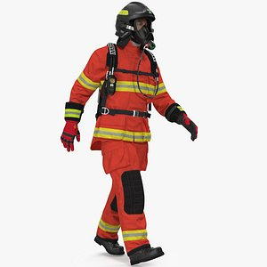 Firefighter Fully Equipped Rigged for Cinema 4D model
