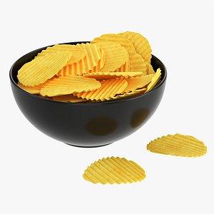 Potato chips in bowl 03 3D model