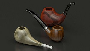 3D 3 wooden smoking pipes model