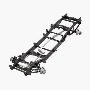 3D 4wd chassis dually pickup truck model