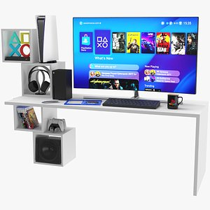 3D Gaming Desk Setup With Consoles And Accessories