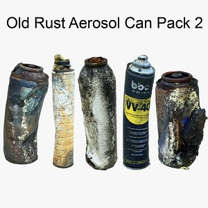 3D Old Rust Aerosol Can Pack2 Scan 3D model