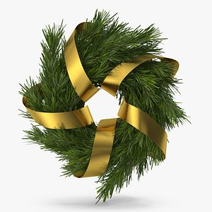 3D Christmas Wreath with Gold Ribbon 2