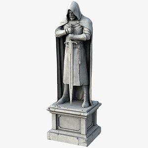 3D ancient plaster statue knight