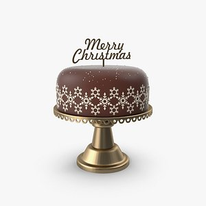 3D Christmas Cake with Topper Merry Christmas model
