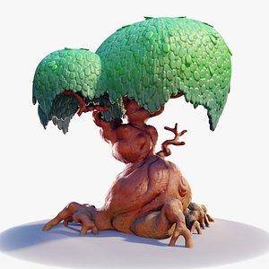 3D tree cartoon chunky model