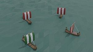 3D Low-poly cartoon ships drakkar