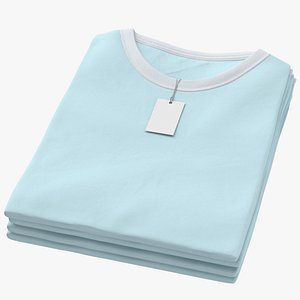 Female Crew Neck Folded Stacked With Tag White and Blue 02 3D