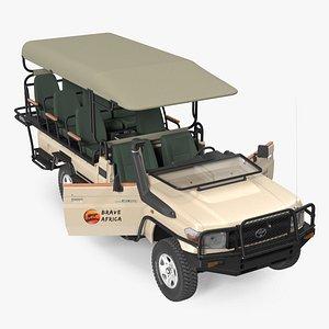 Toyota Land Cruiser Safari Open Sided Beige Clean Rigged 3D model