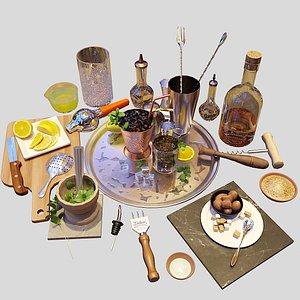 cocktail set mint julep 3D