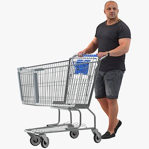 Arnold Casual Summer Walking Pose 02 With Shopping Cart 3D model