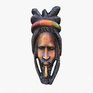Legendary Bob Marley wall mask low-poly model