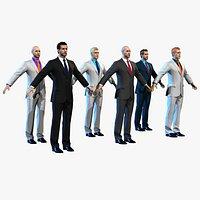 Businessman Set Low-poly 12 head skins 7 eye set Real-time
