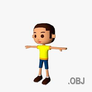 3D Boy White - OBJ - Low Poly Quad model