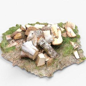 3D Wood piece pile model