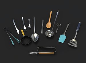 3D kitchen cutlery pack 1 model
