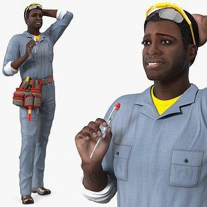 3D Dark Skin Black Man Electrician