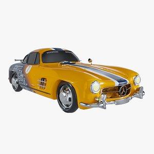 Retro Sport Car Mercedes SL Yelow model