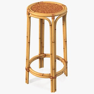 Bamboo Bar Stool Round High 3D model
