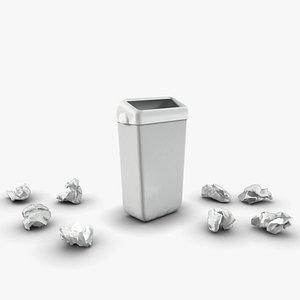 trash bin crumpled paper model