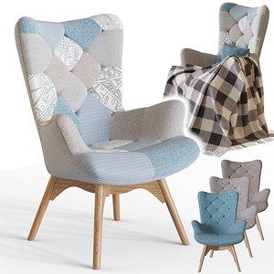 3D chair knut patchwork armchair