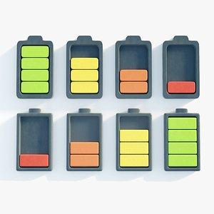 3D battery icon model