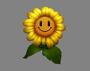 sunflower smiling flower 3D model