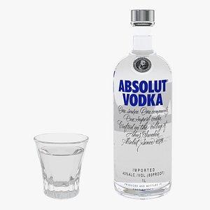 3D vodka faceted glass model