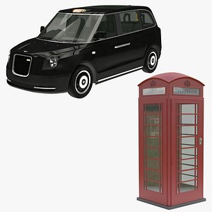 telephone box taxi 3D