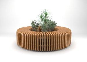wooden bench parametric 3D model