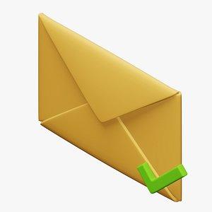 3D checkmark mark envelope model