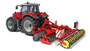3D model tractor compact disc harrow
