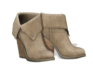 Folded Back Ankle Boots 3D