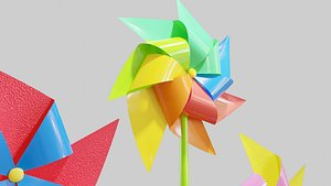 3D model pin pinwheel wheel