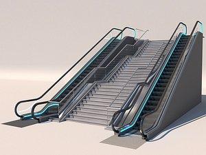 3D Elevator escalator stair