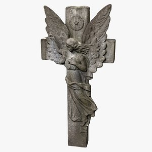 cross stone sculpture 3D