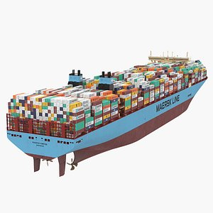 Madrid Maersk Container Ship Loaded 3D model