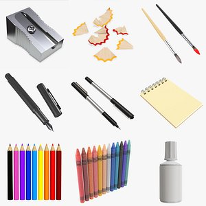 Drawing tools and accessories PBR 3D model