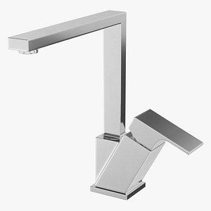 Angular Single Lever Kitchen Mixer Tap Chrome 3D model