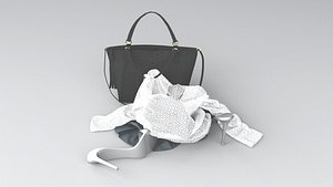 Womens Clothes on Floor Clothing Bundle 3D